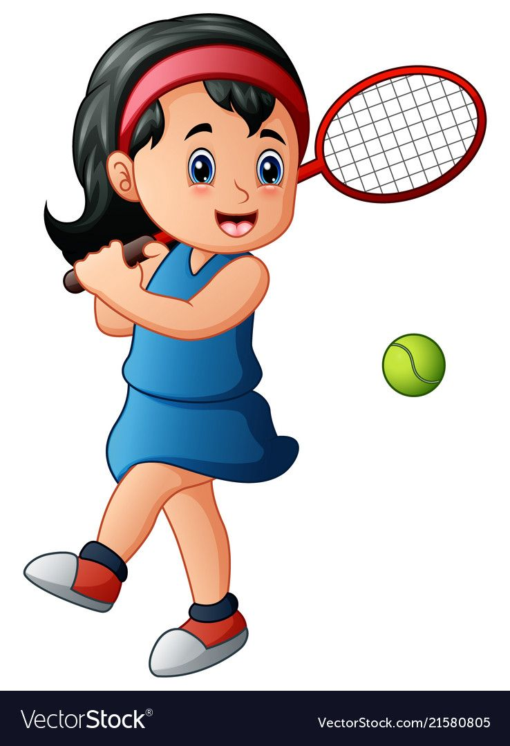 Cartoon Girl Playing Tennis Vector Image On Vectorstock Girl Cartoon Cartoon Retro Printables