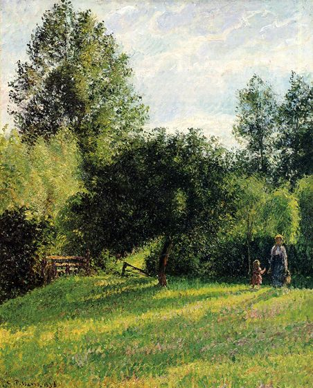 Camille Pissarro (French, Impressionism, 1830-1903): Crossroads at l'Hermitage, Pontoise; 1876 - Google Search