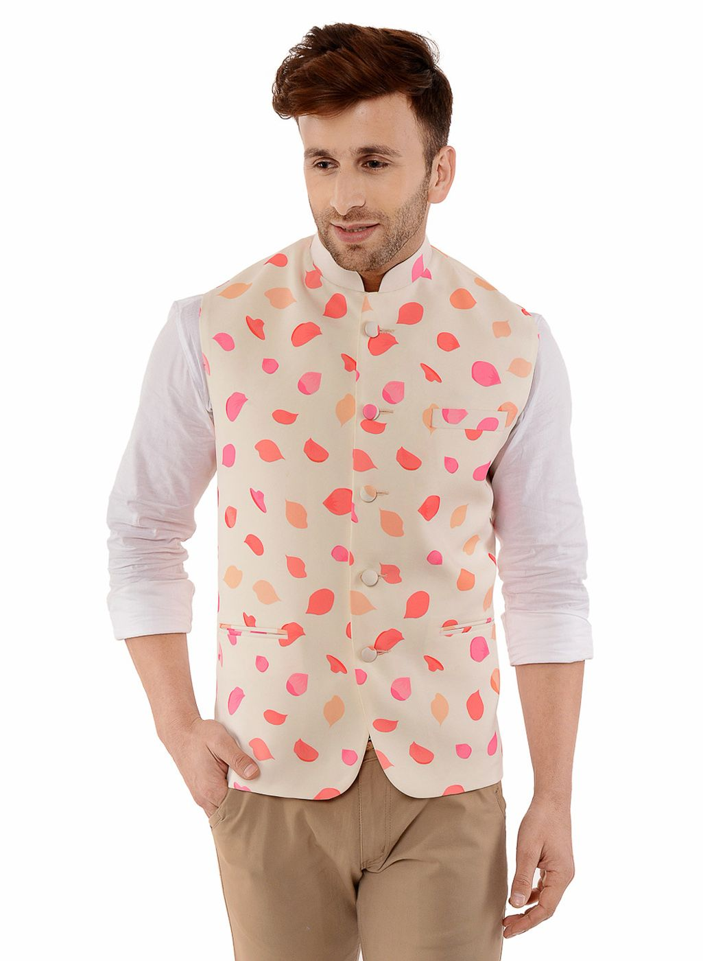 cabc5c3b Indian Fashion · Buy Lee marc nehru waist coat for men Cream Color Online  at Low prices in India