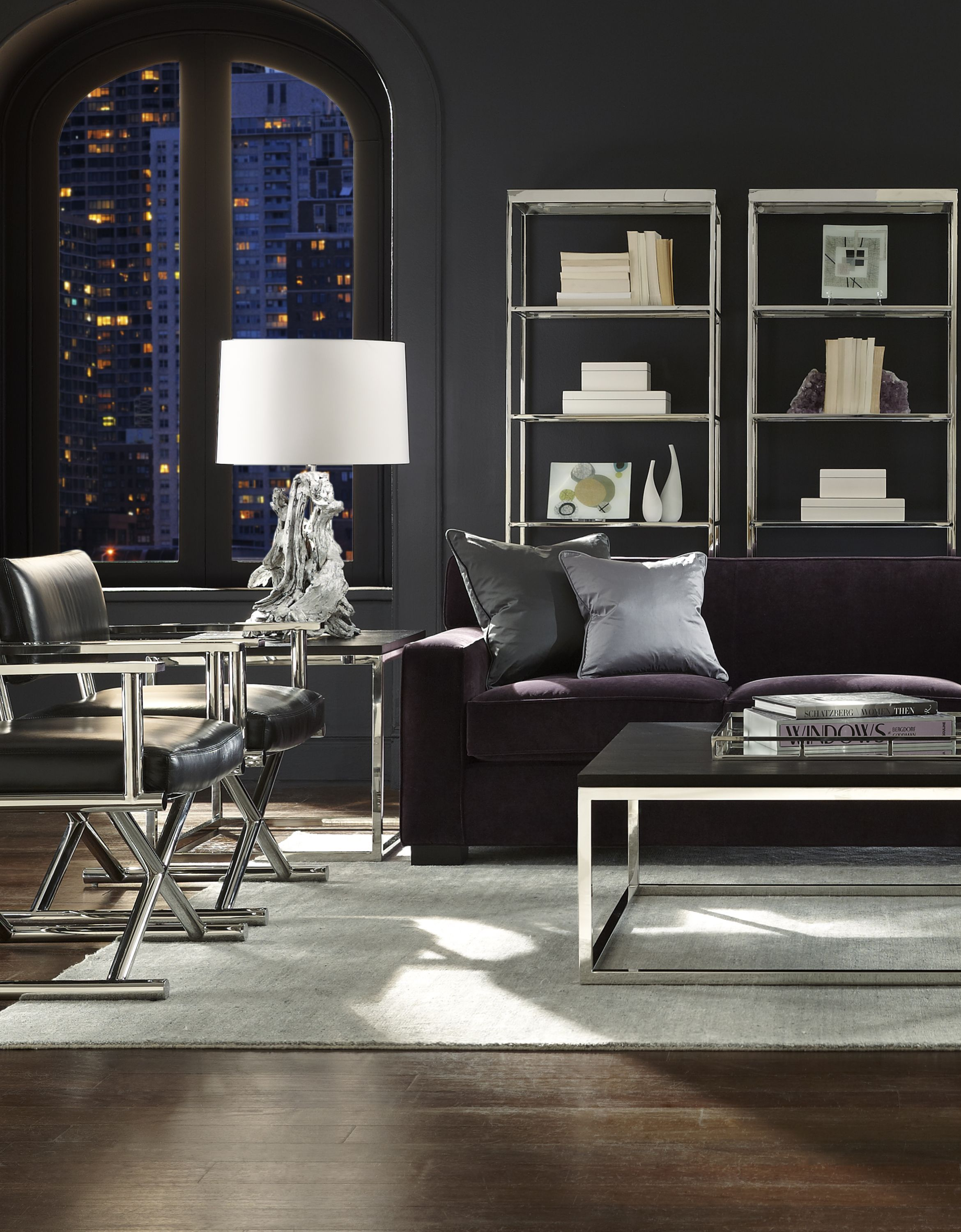 Jean Luc Sofa In Our Passionate New Purple Called Ink Paired With
