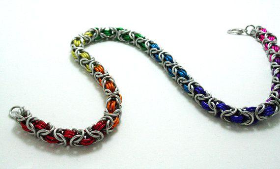 Handmade Rainbow pride chainmaille byzantine necklace