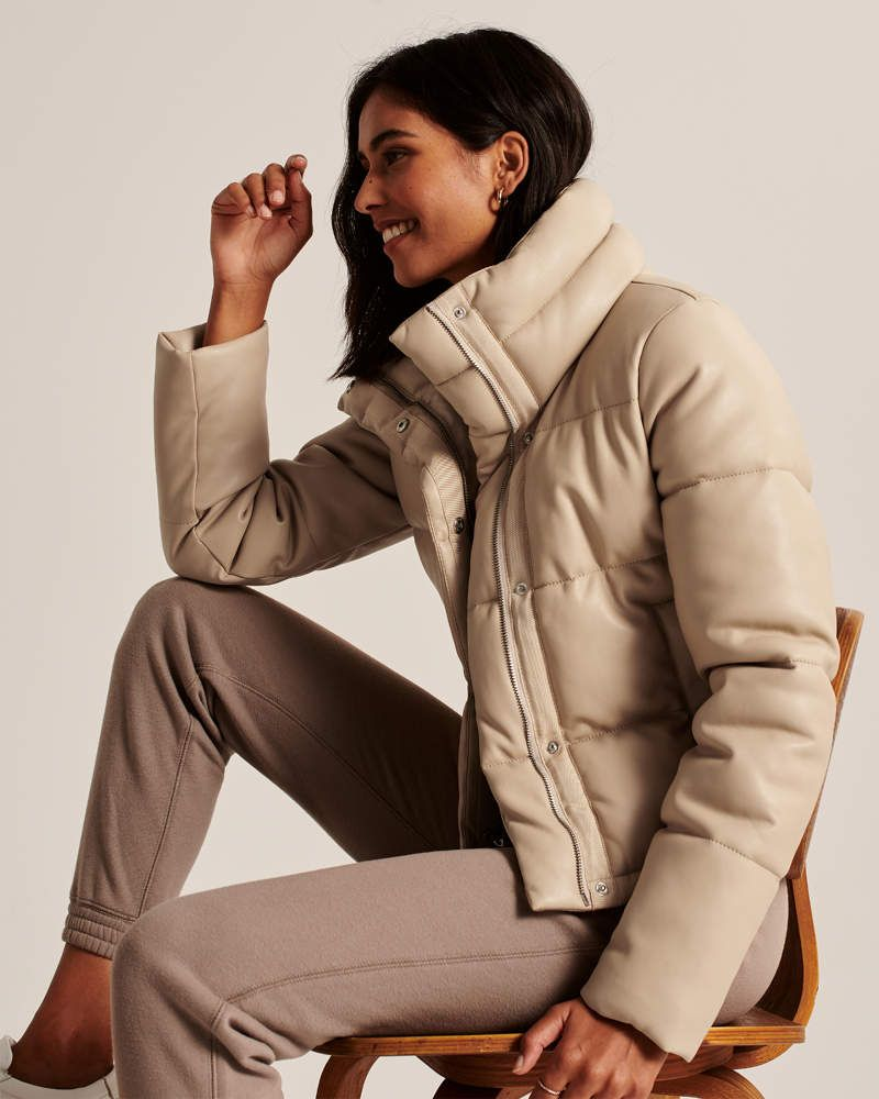 Women S Faux Leather Mini Puffer Women S New Arrivals Abercrombie Com In 2020 Fall Jacket Trends Vegan Leather Womens Faux Leather