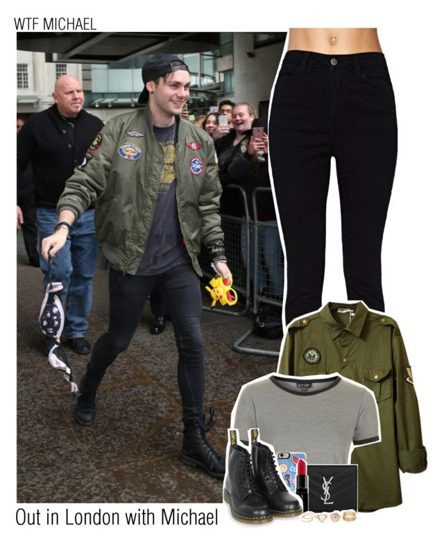 """""""Out in London with Michael"""" by sixsensestyles ❤ liked on Polyvore featuring Topshop, Zero Gravity, Yves Saint Laurent, Smashbox and Dr. Martens"""