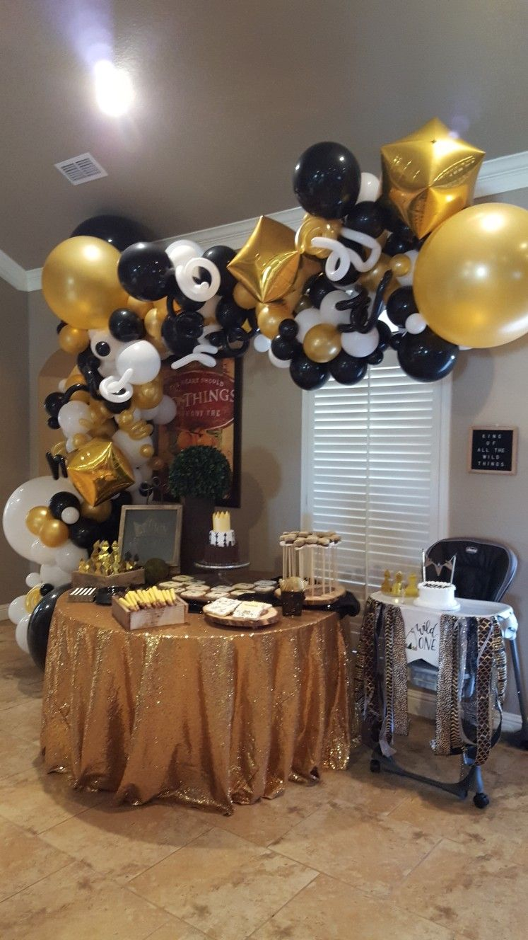 Organic Balloon Arch Black White And Gold First Birthday Gold