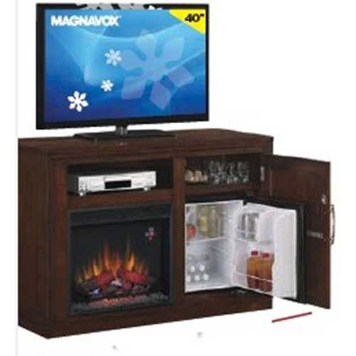 Aaron S Magnavox 40 Smart Led Tv With Fireplace Tv Stand And Fridge