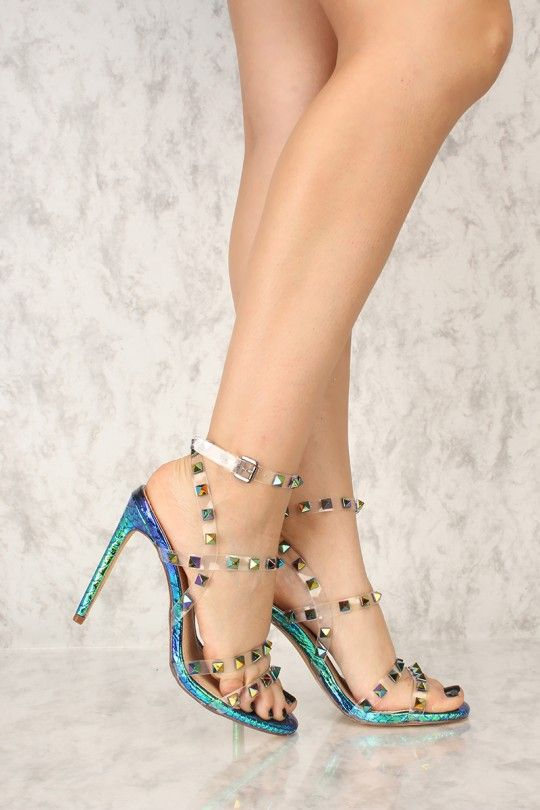 74ace68560e The featuring includes clear straps with colorful pyramid studded accents