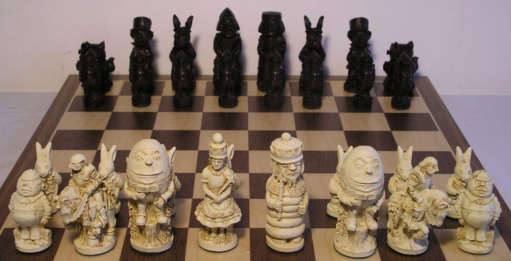 Large Alice In Wonderland Chess Set