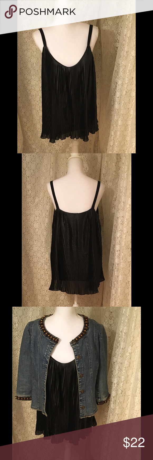 "Black Sleeves Top By Ana Never been worn Back sleeveless top chiffon fully lined 100% polyester, body inner 95% viscose 5% spandex 20"" from armpit to armpit and 25"" length ana  Tops"