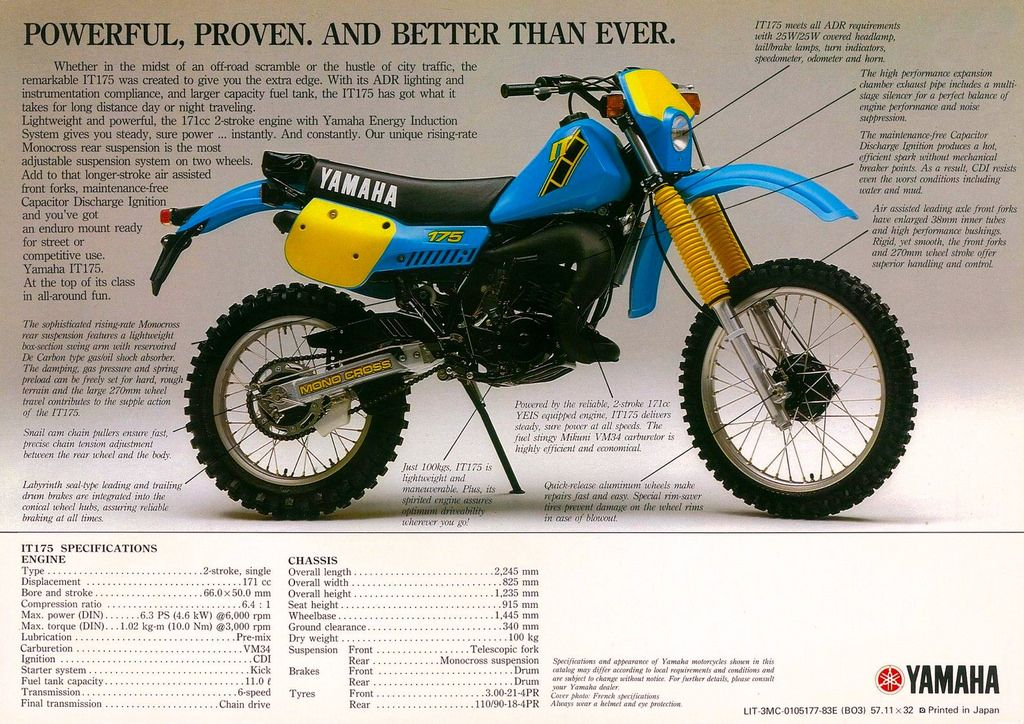 Yamaha It 175 1983 Dirtbikes Enduro Motorcycle Yamaha Racing