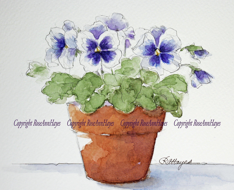 Pansies Watercolor Painting Purple Flowers Violas Floral Etsy Watercolor Flowers Paintings Flower Painting Watercolor Plants