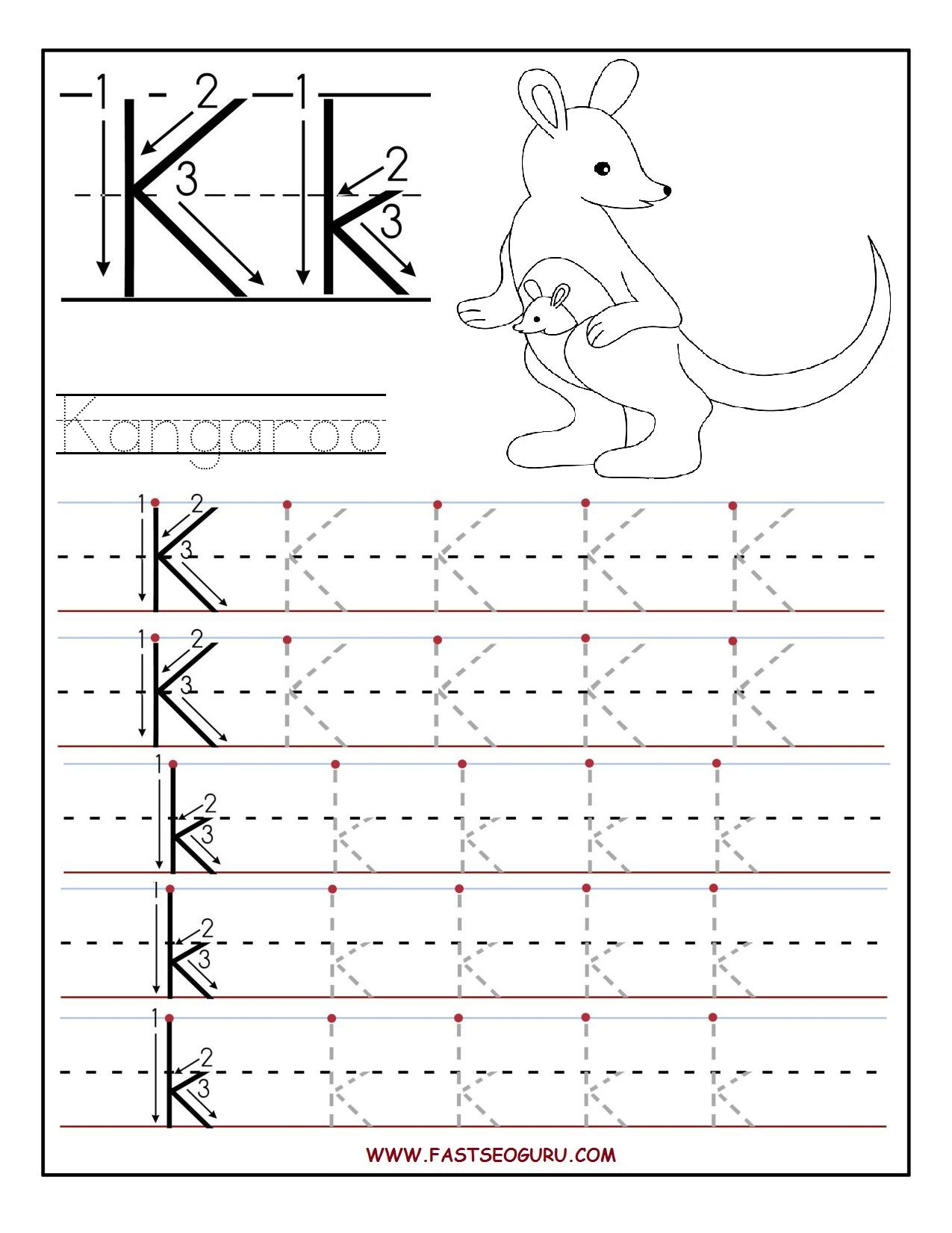 P K Math Worksheet : Printable letter k tracing worksheets for preschool