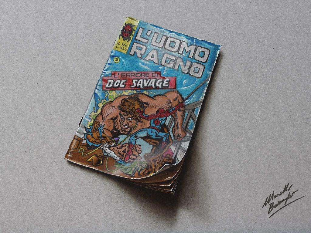Hyperrealistic drawing of an old issue of Spiderman (Uomo Ragno Doc Savage Italian Edition 1975) by Marcello Barenghi. #marcellobarenghi