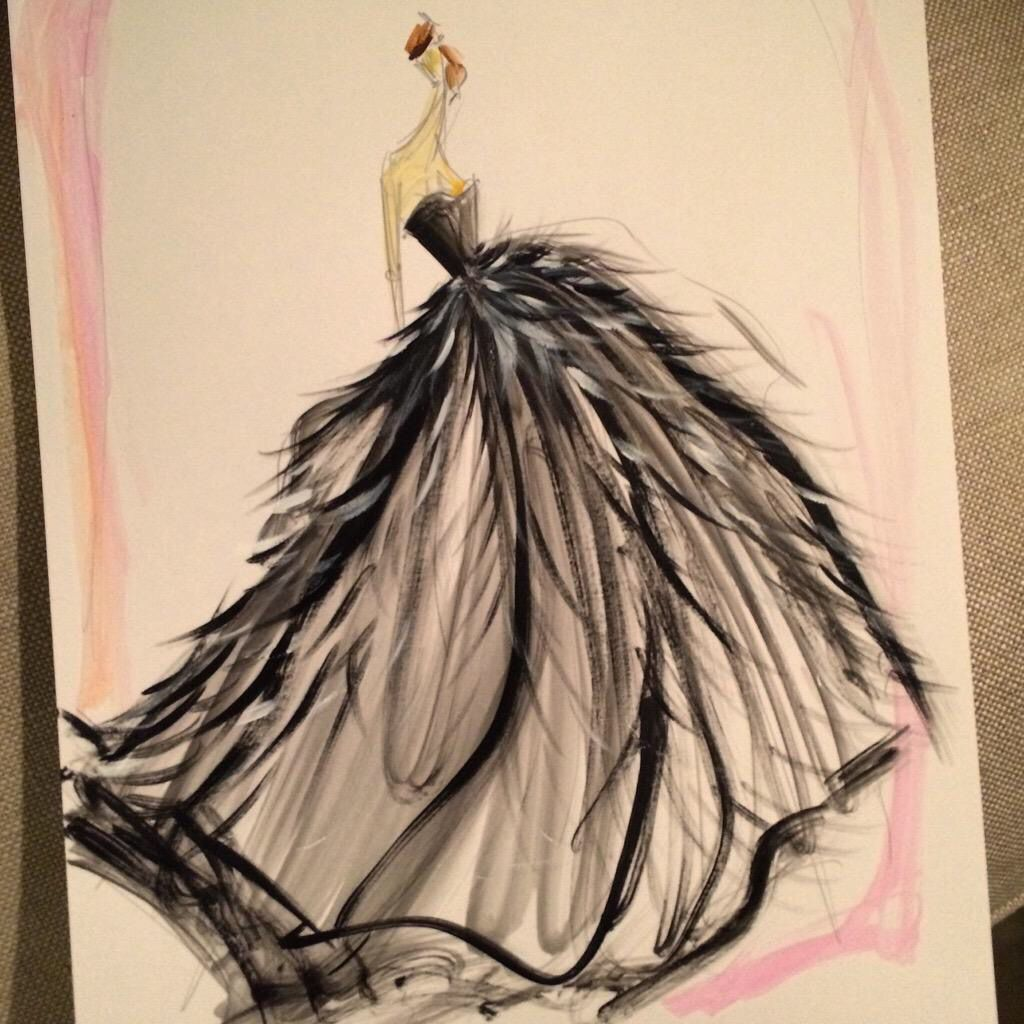 Sketch by Christian Siriano: black tulle feather gown. Sketch prints are available at our online store www.christiansiriano.com #cssketch
