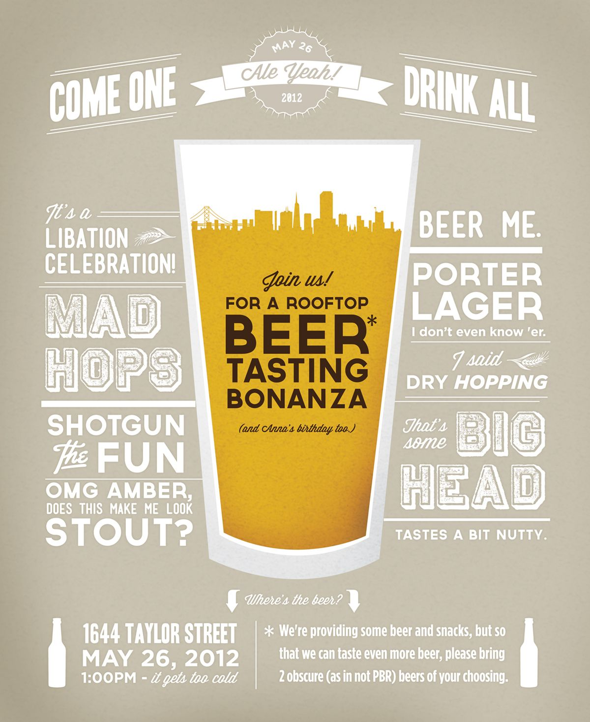 beer tasting party invite typography typography – Beer Tasting Party Invitations