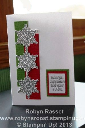 Festive Flurry Elegance  To purchase the supplies to make this card go to my online store www.robynsroost.stampinup.net