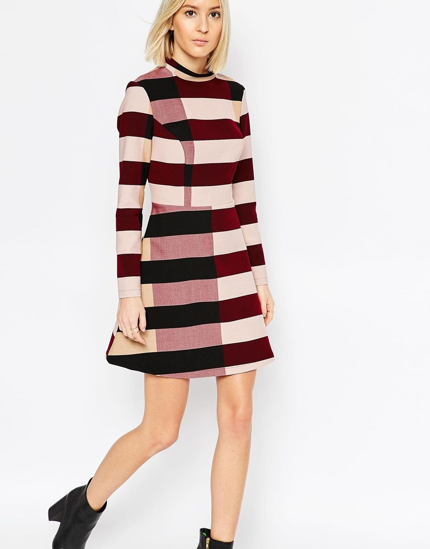 Image 1 of ASOS WHITE Funnel Neck Mini Dress in Block Stripe ...