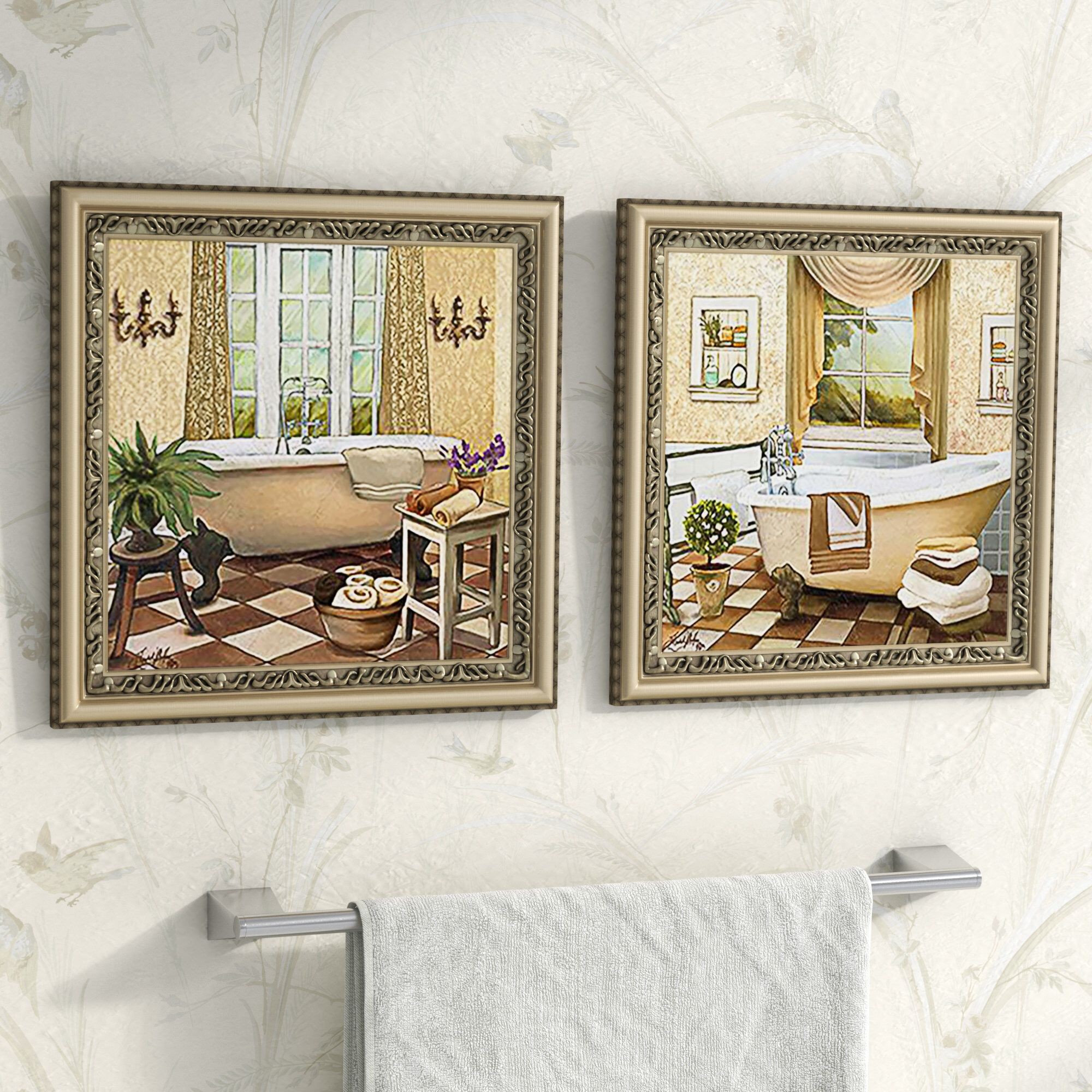 French Bath Ii 2 Piece Framed Acrylic Painting Print Set Under