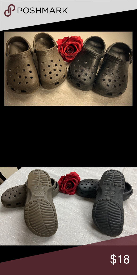 brown and black crocs classic kids in
