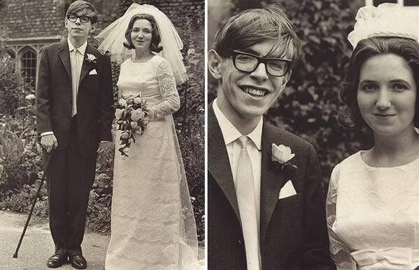 Stephen Hawking with his bride Jane Wilde