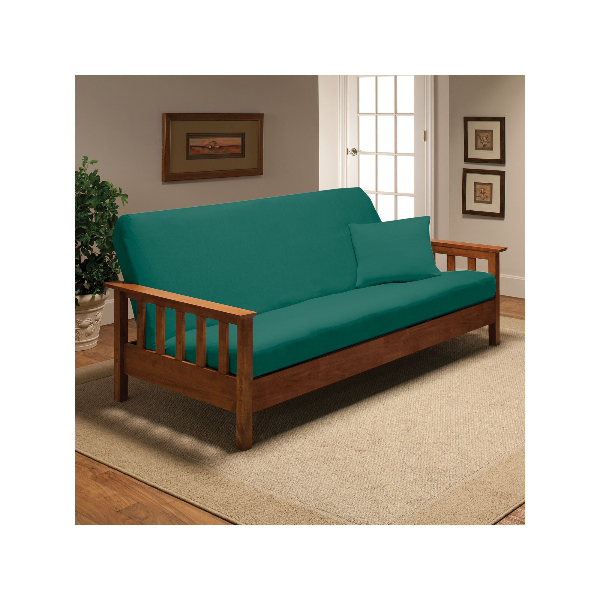 Jersey Stretch Futon Slipcover With Pillow Blue Durable
