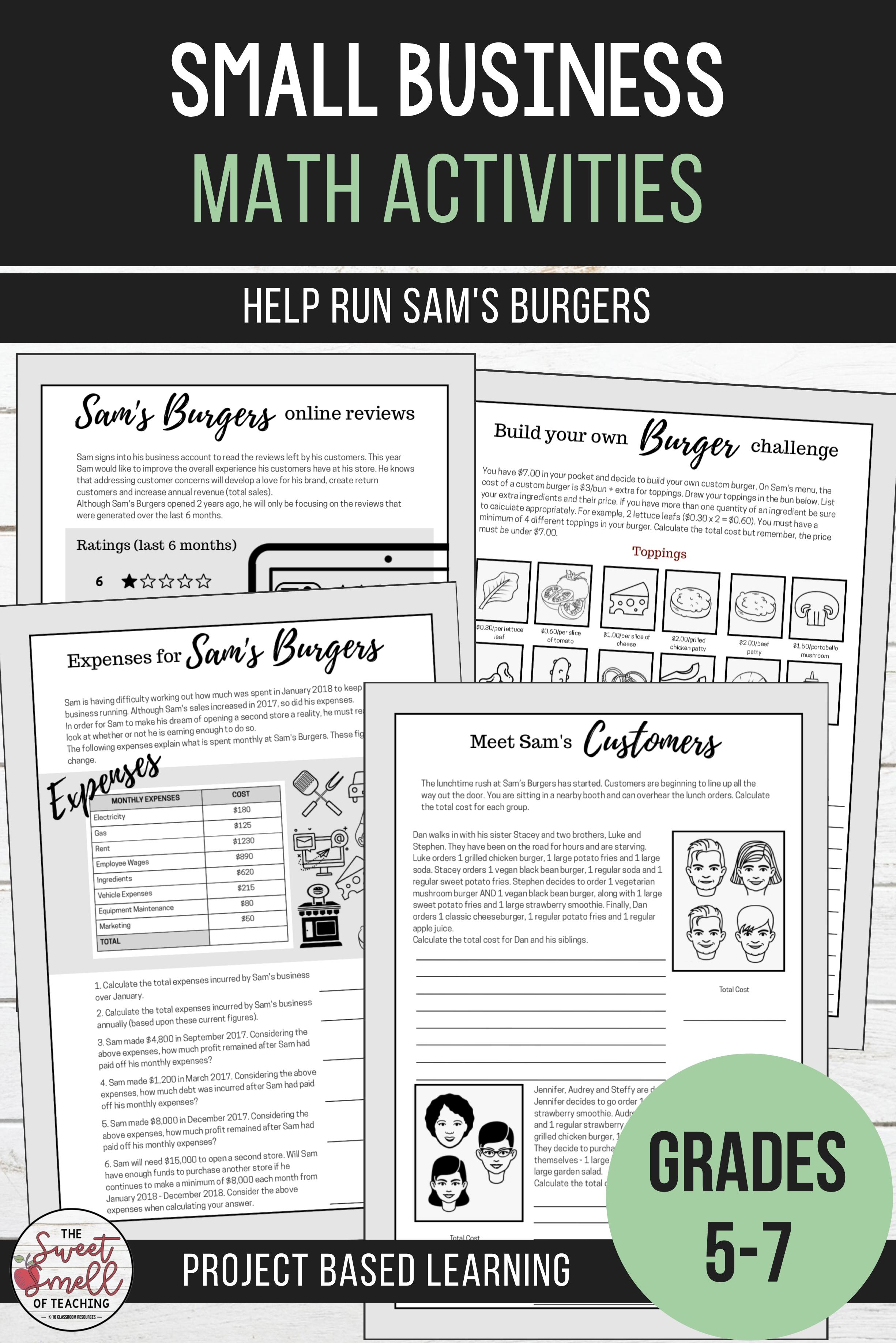 Real Life Mathematics Help Run Sam S Burgers Middle School Math Resources Math Math Activities [ 3672 x 2450 Pixel ]