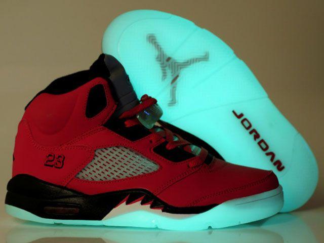 cheap air jordan 5 luminous shoes red black outlet