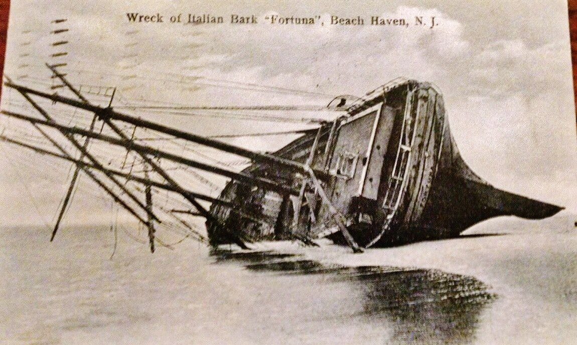 1911 view of the Fortuna shipwreck in Beach Haven, LBI, NJ