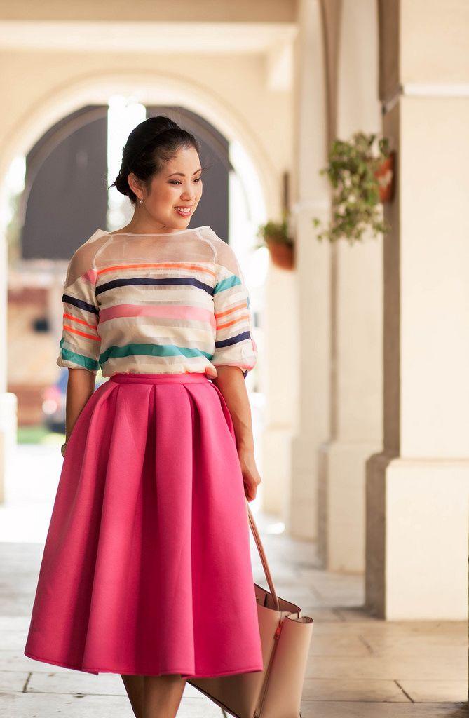 Pink Pleated Midi Skirt - Choies.com | Mink, Full midi skirt and ...