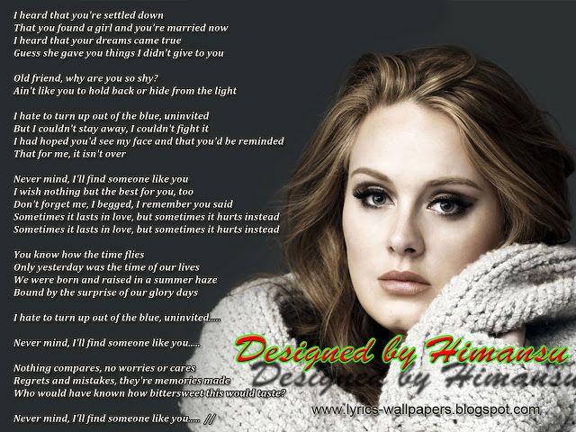 Lyrics To Someone Like You By Adele Missing You Adele Someone