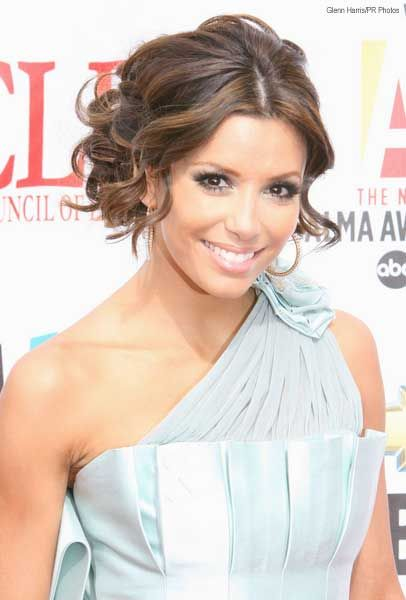 Curly Updo With A Middle Part Front Hair Styles Wedding Hair Front Eva Longoria Hair