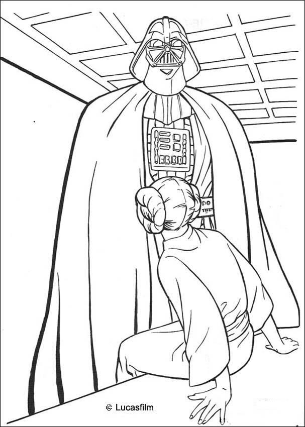 Star Wars Princess Leia Coloring Pages Darth Vader And Princess
