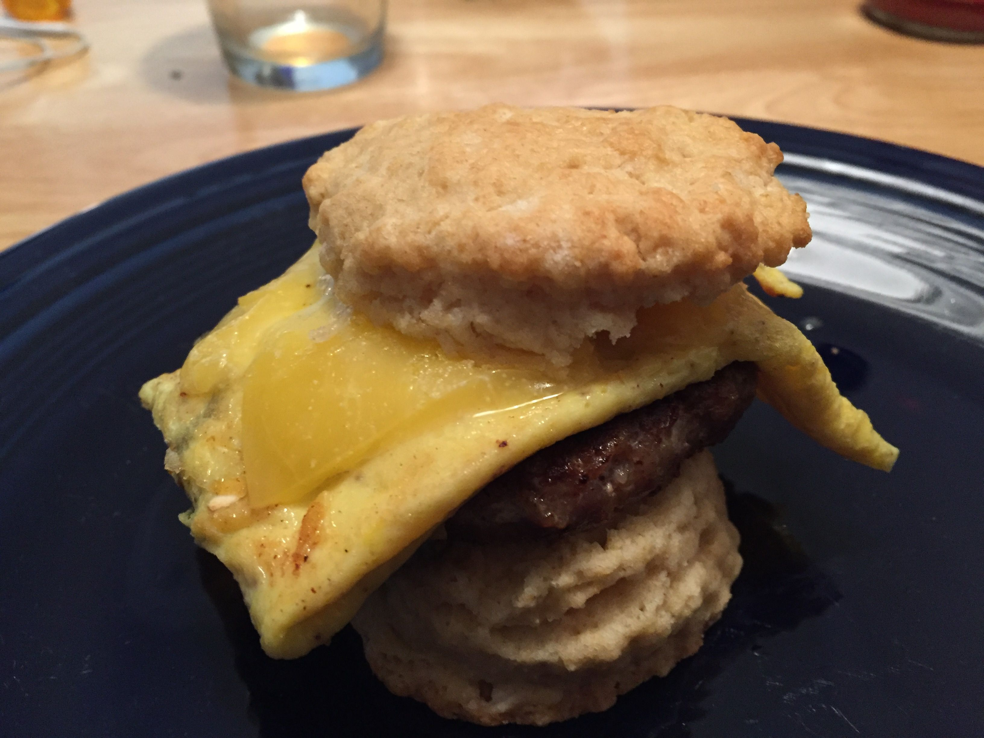 My classic breakfast: a tasty homemade sausage egg and cheese biscuit. Can't beat it.