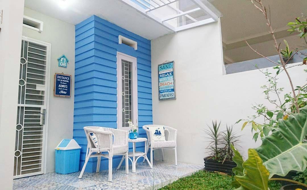 Model Teras Rumah Dengan Warna Cat Teras Rumah Biru Putih Teras