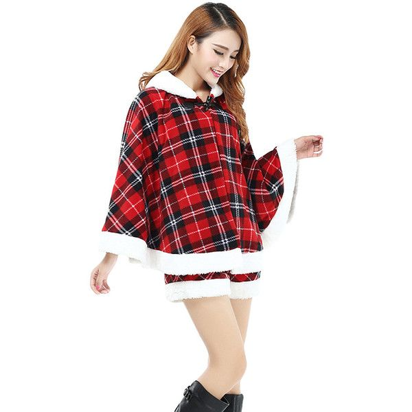 Womens Pretty Plaid Hooded Christmas Santa Costume Watermelon Red (115 BRL) ❤ liked on Polyvore featuring costumes, dresses, womens santa claus costume, womens christmas costumes, santa suit, christmas costumes and white halloween costumes