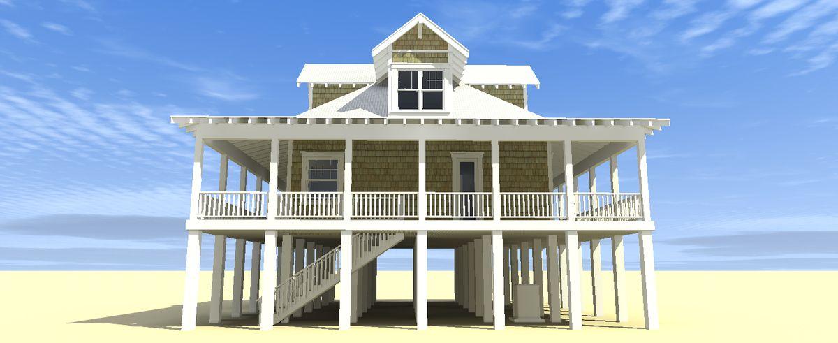 Plan 44026TD Classic Florida Cracker Beach House Plan Beach house