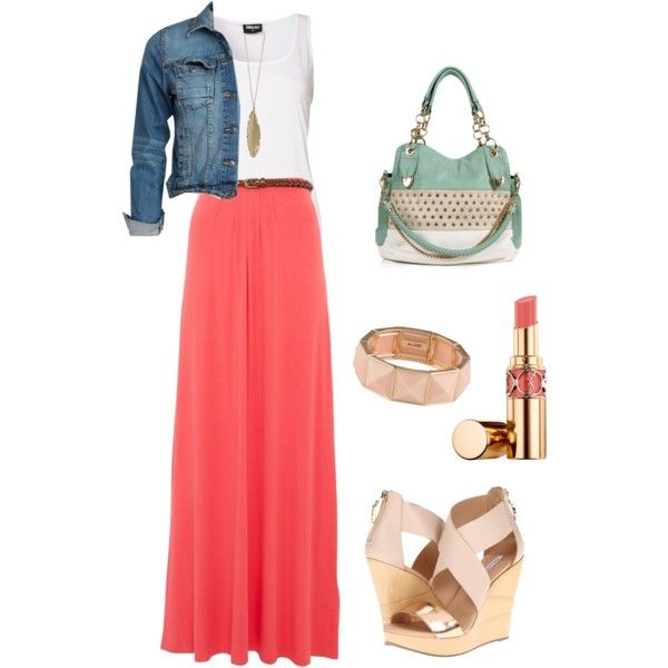 Coral Maxi Skirt | Fashion | Pinterest | Coral maxi skirts, Coral ...