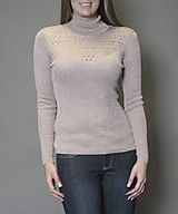 Lurex turtle neck with pointelle front