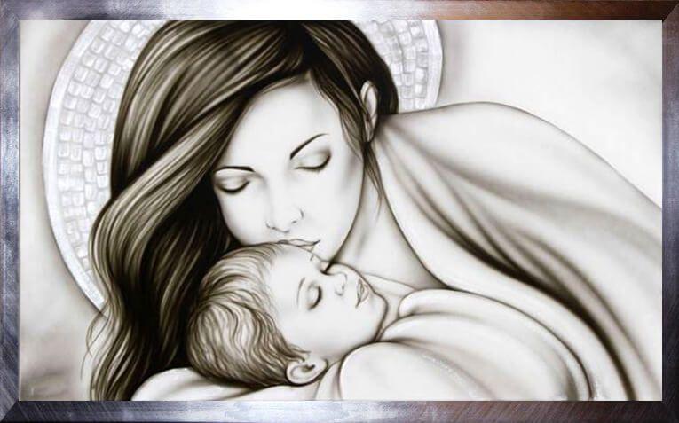 madonna con bambino capezzale quadro sacro bacio