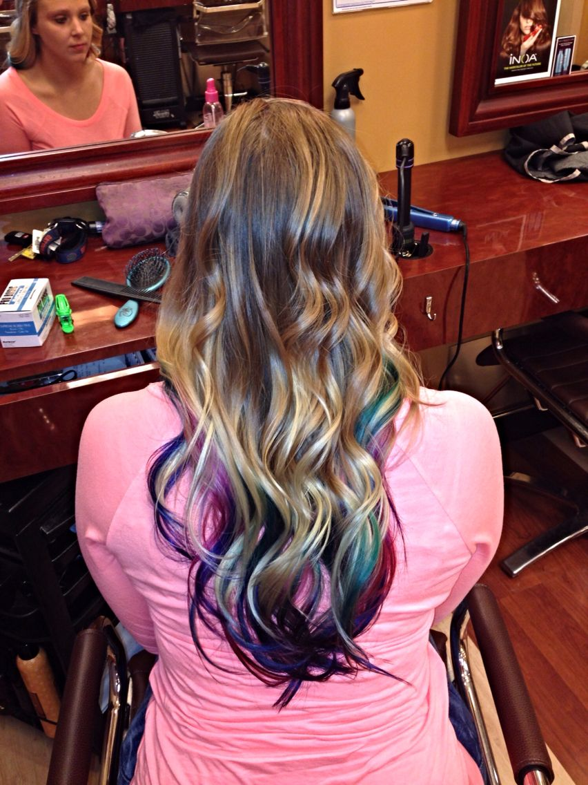 blonde with multi-colored tips underneath | hairrr. | long