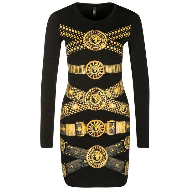 Versus Versace Jersey dress (570 BRL) ❤ liked on Polyvore featuring dresses, versace, black, sleeved dresses, round neck dress, jersey dress, collar dress and cotton dress