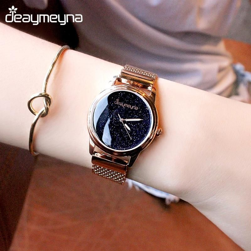 Watches Clever Luxury Women Leather Clasp Watch Ladies Big Star Dial Dress Watches Stainless Steel Mesh Belt Quartz Watch 2019 Latest Style Online Sale 50%