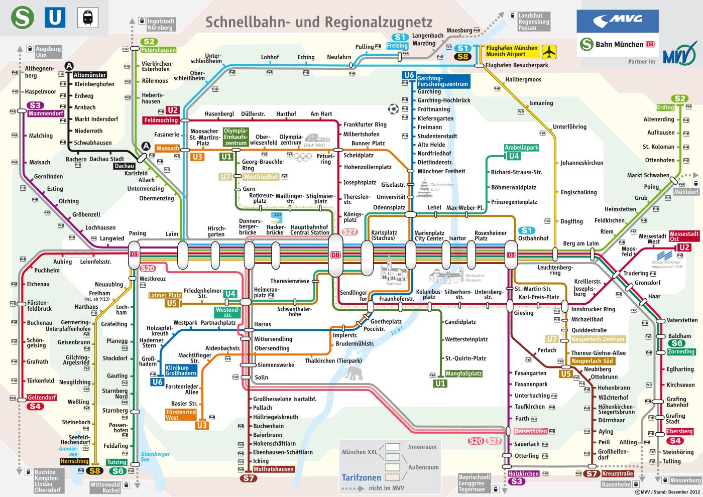 Munichs Metro Map Schnellbahn und Regionalzugnetz 2013