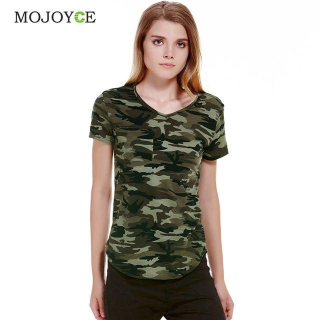c22921fc Women Camouflage Pocket T-shirts Army Print Clothes Short Sleeve T-shirt  Roupas Femininas Blusa Shirts Loose Vestidos Top Tees #Compare #Tees