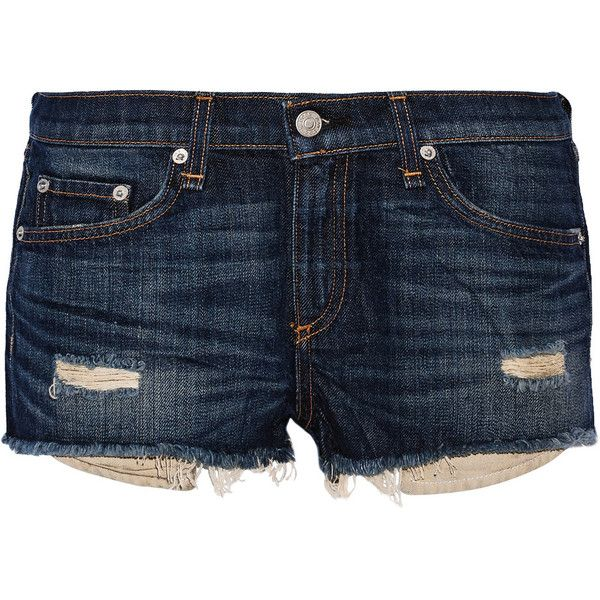 Rag & bone Mila distressed denim shorts ($115) ❤ liked on Polyvore featuring shorts, mid denim, torn shorts, rag bone shorts, ripped shorts, frayed shorts and dark blue shorts
