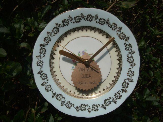 Upcycled Vintage Plate Clock - Folksy