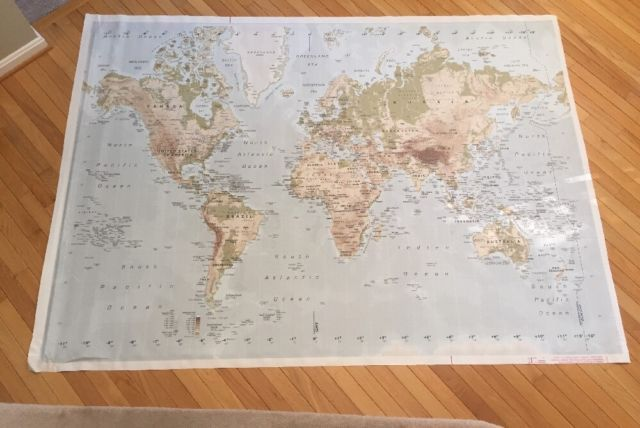 Ikea Premiar Map Lg 78 X55 World Atlas Canvas With Frame