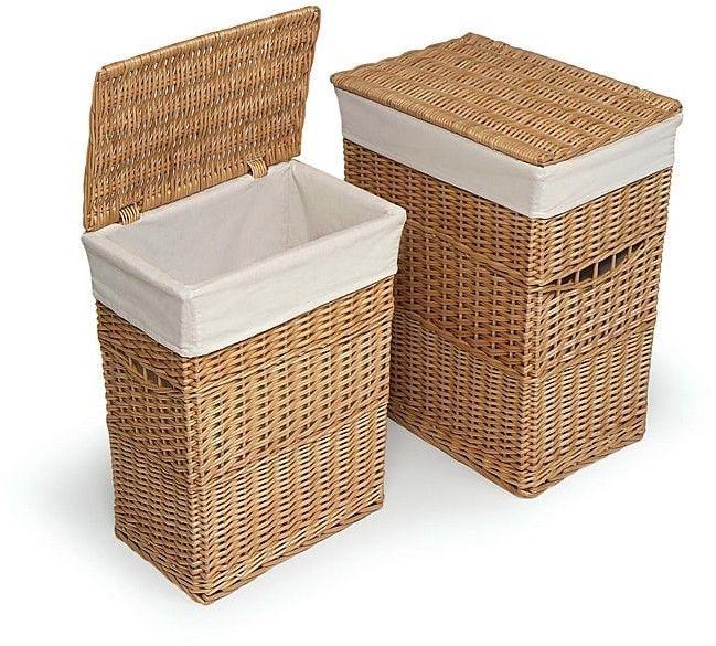 2pc Wicker Laundry Basket Natural Hamper Removable Liner