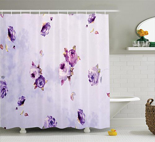 Ambesonne Roses Decorations Collection Floral Pattern With Mauve