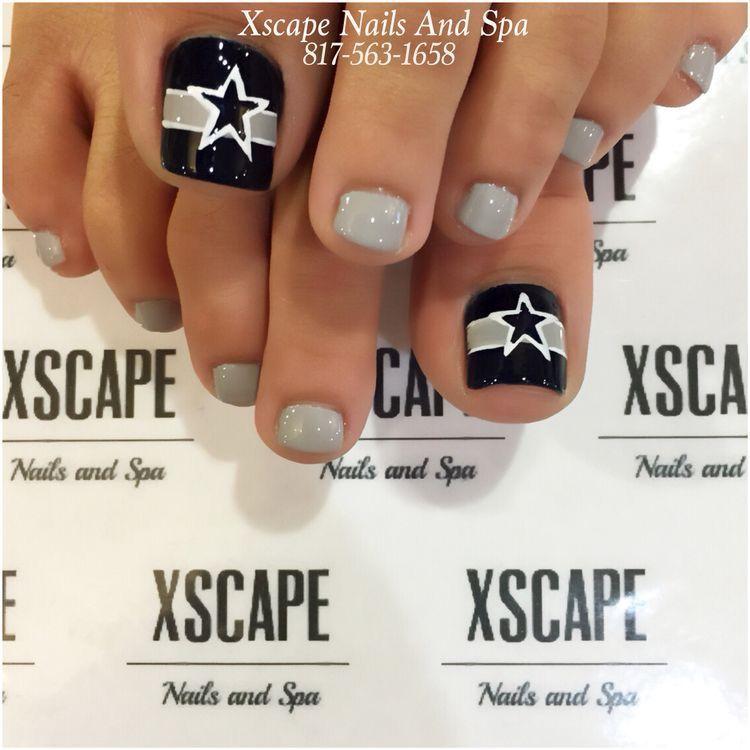 Dallas Cowboys Pedicure Dallascowboys Pedicure Toes Bluetoes Silvertoes Nailart Follow Cowboy Nails Dallas Cowboys Nail Designs Dallas Cowboys Nails