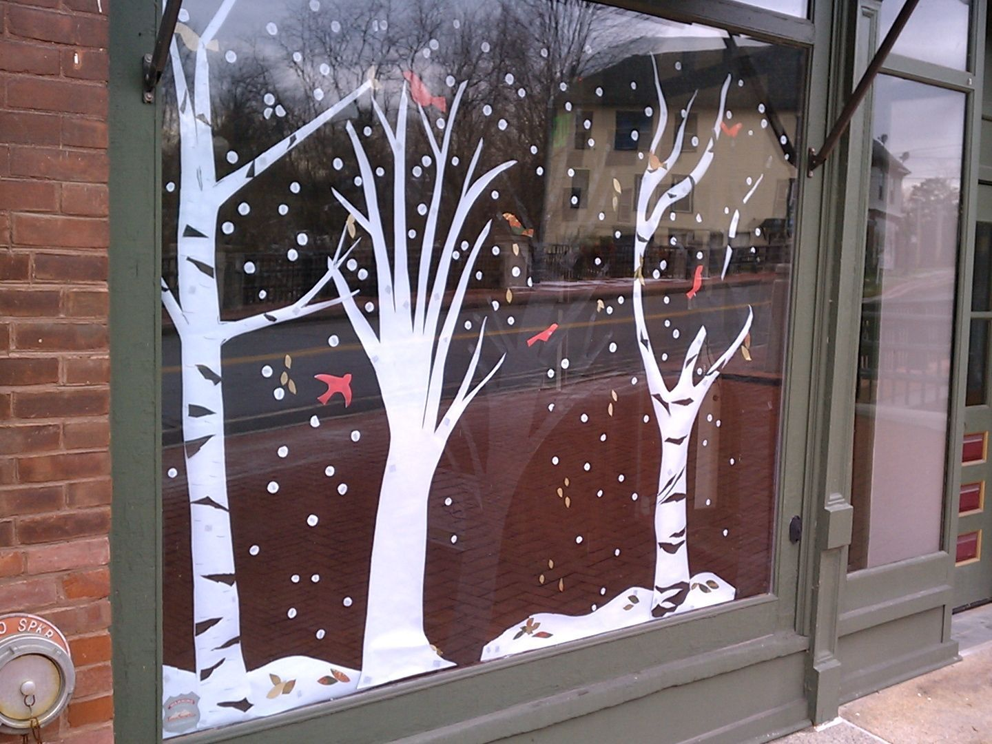 Winter Spring storefront decoration ideas Trees and Birds
